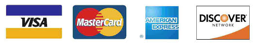 VISA, Mastercard, Discover, AMEX accepted